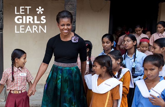 Iniciativa solidaria de Michelle Obama, let girls learn