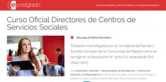 XII convocatoria del Curso Oficial Directores de Centros de Servicios Sociales