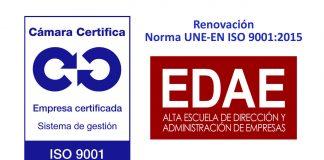 En EDAE renovamos el certificado de Calidad ISO 9001